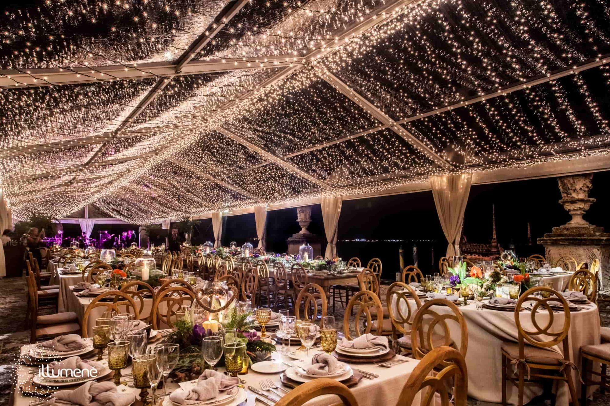 Vizcaya Museum and Gardens tent lighting twinkle lights mini lights