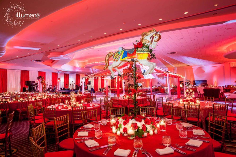Circus theme Corporate event lighting production sound Miami
