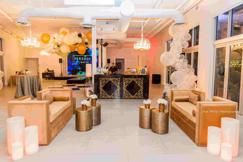 Crystal сhandeliers Miami corporate party