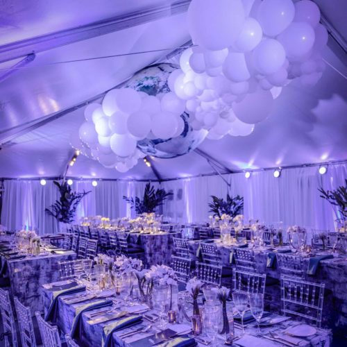 Gala fundraiser corporate event production audio lighting tent