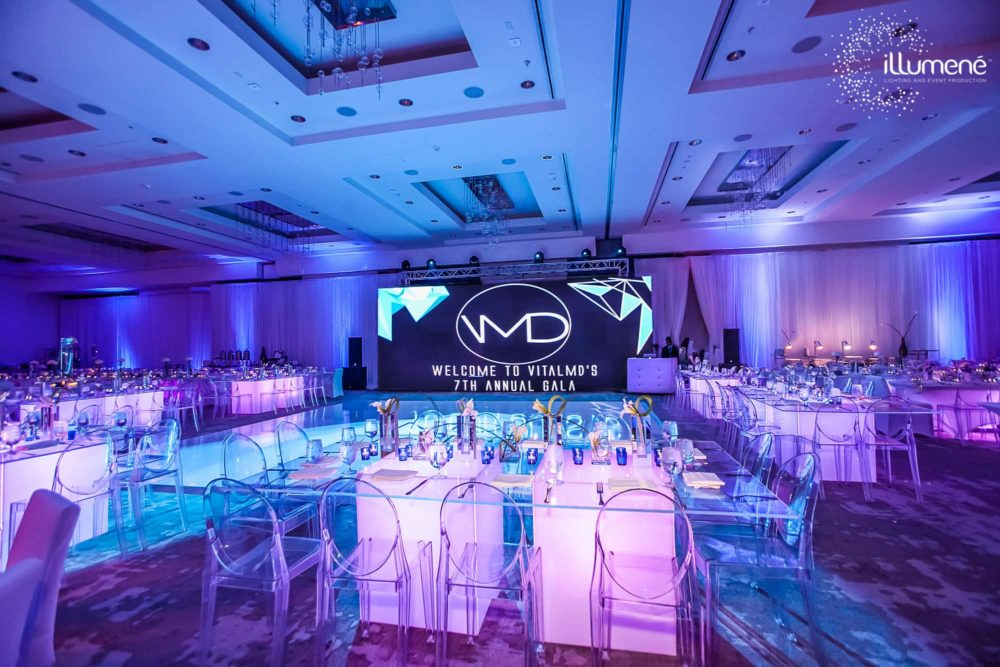 Gala party event production and lighting Miami