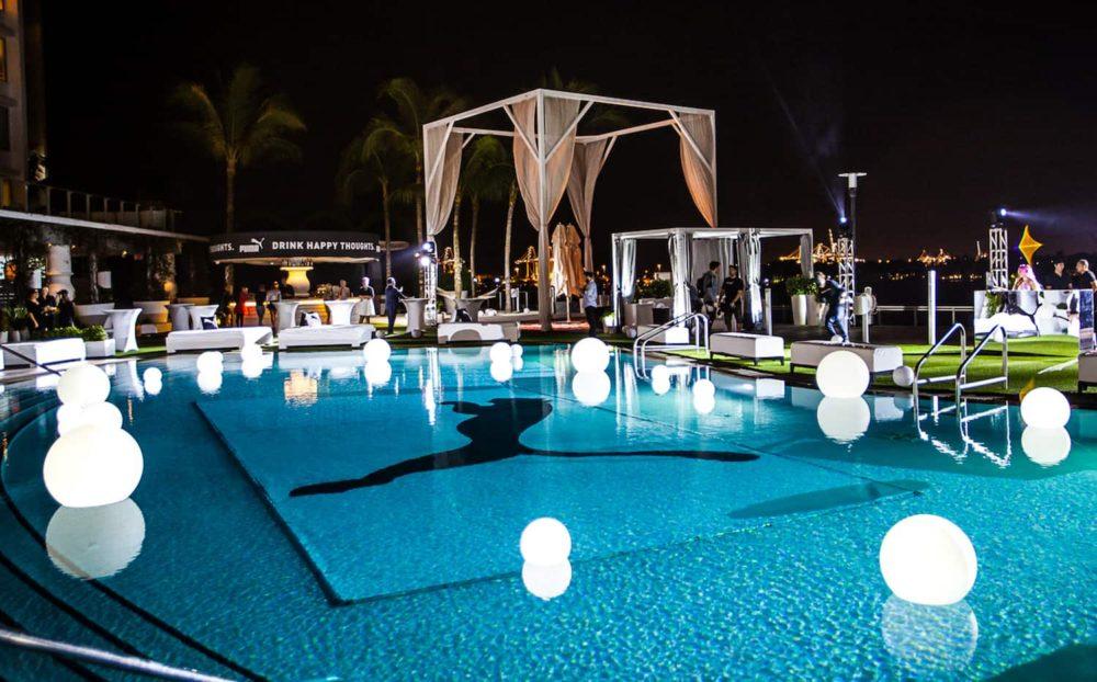 Glowing spheres LED balls pool Miami rent