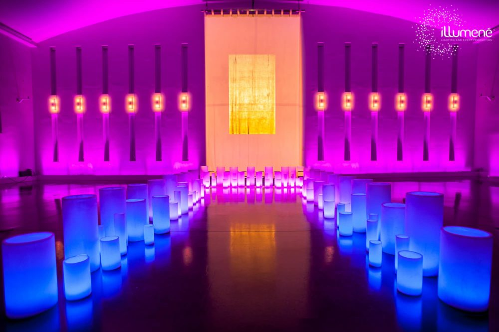 Large wax luminaries temple house Miami gala