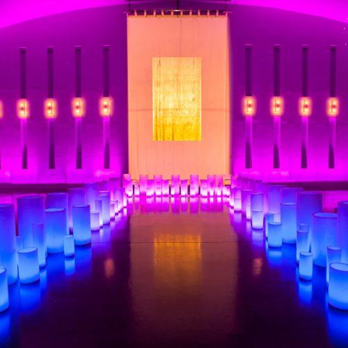 Large wax luminaries temple house Miami gala