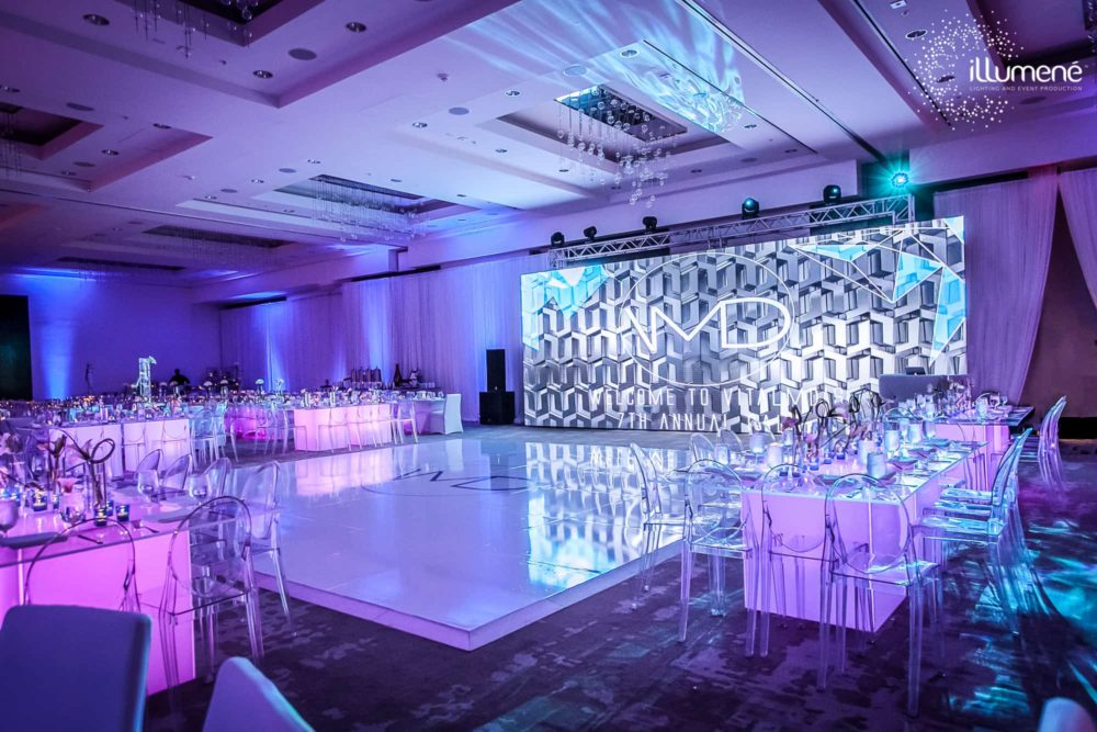Miami event production and lighting for gala corporate party fundraiser