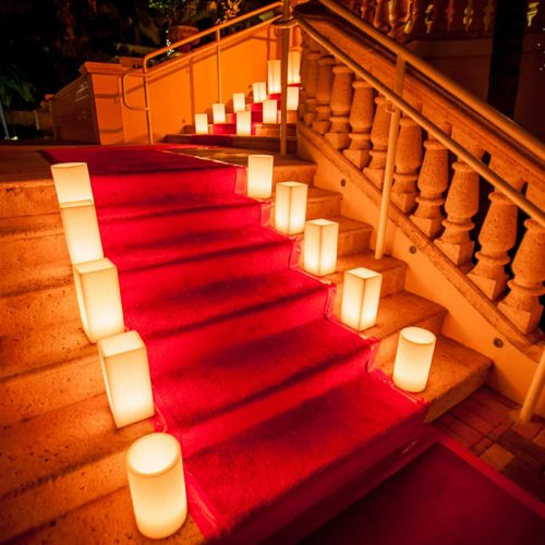 Red carpet wax candles Miami gala
