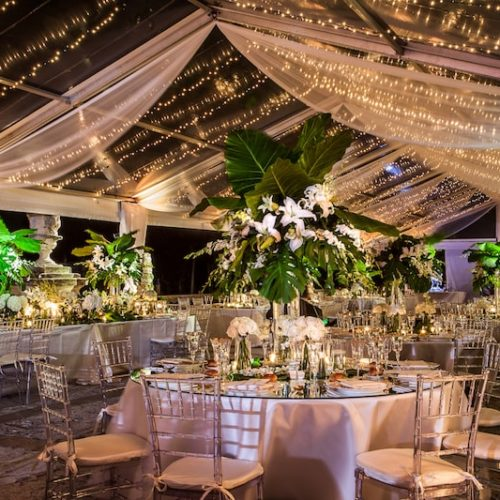 Vizcaya Museum wedding christmas lights tent lighting fabric swags draping