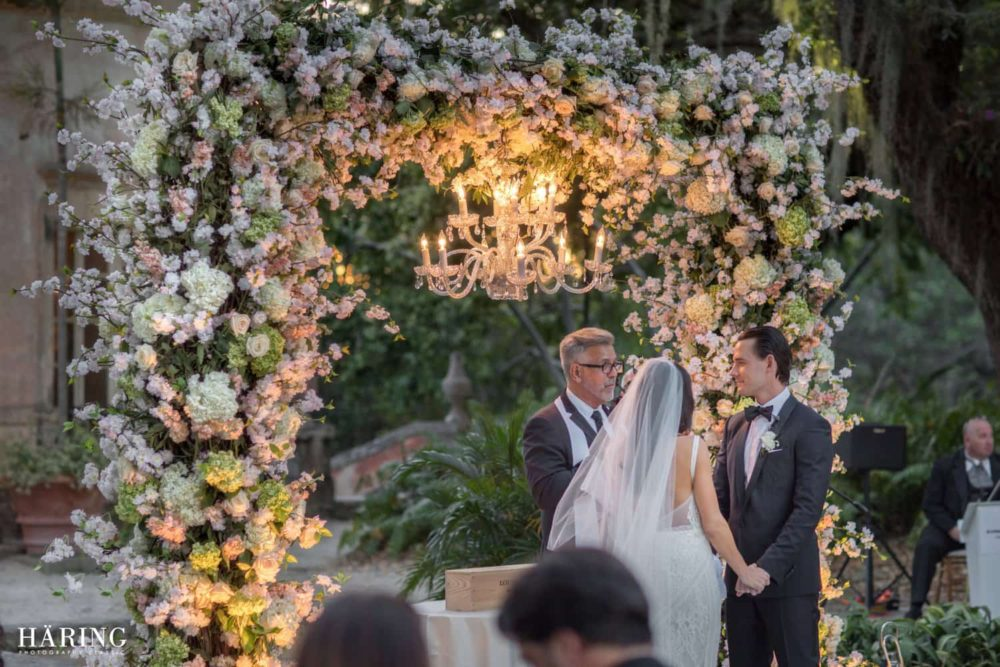 Vizcaya Museum and Gardens ceremony lighting wedding