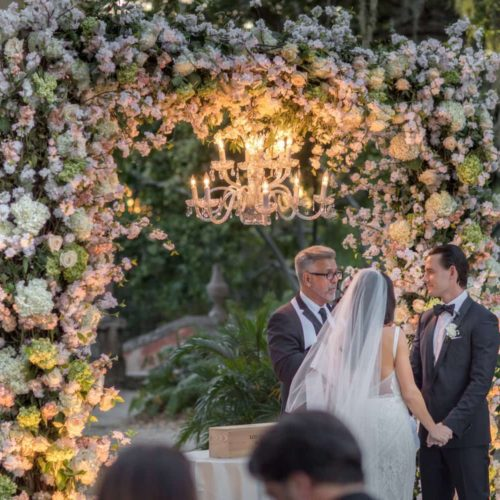 Vizcaya Museum and Gardens ceremony lighting wedding