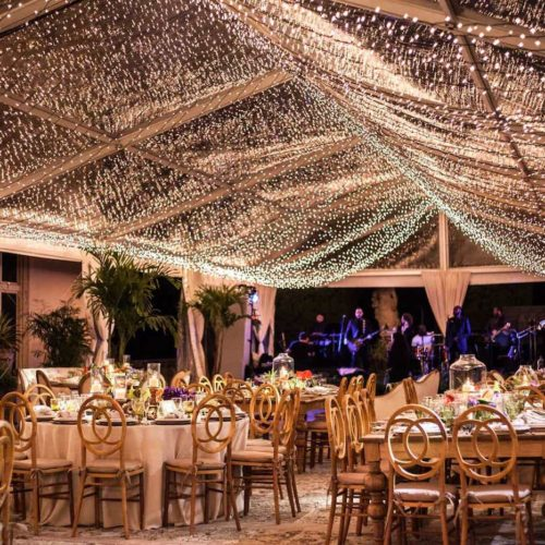 Vizcaya Museum and Gardens tent lighting christmas lights wedding