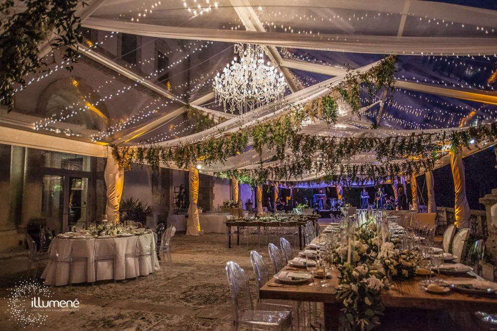 Vizcaya Museum and Gardens wedding, sheer fabric swags, wedding tent draping