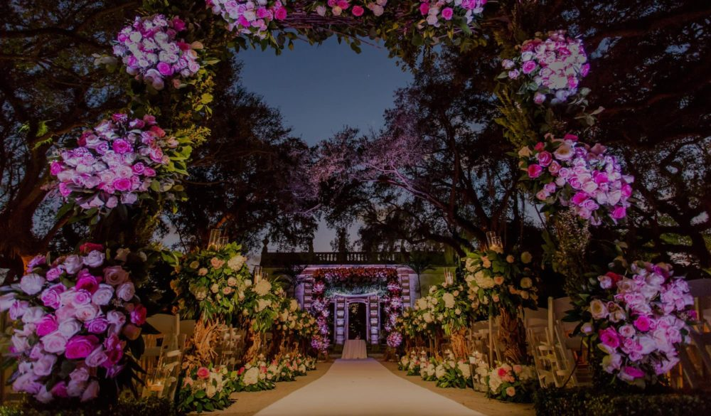 Vizcaya Museum and Gardens wedding lighting ceremony Miami