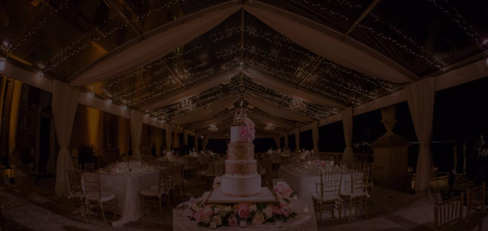 Vizcaya Museum and Gardens wedding lighting tent mini lights