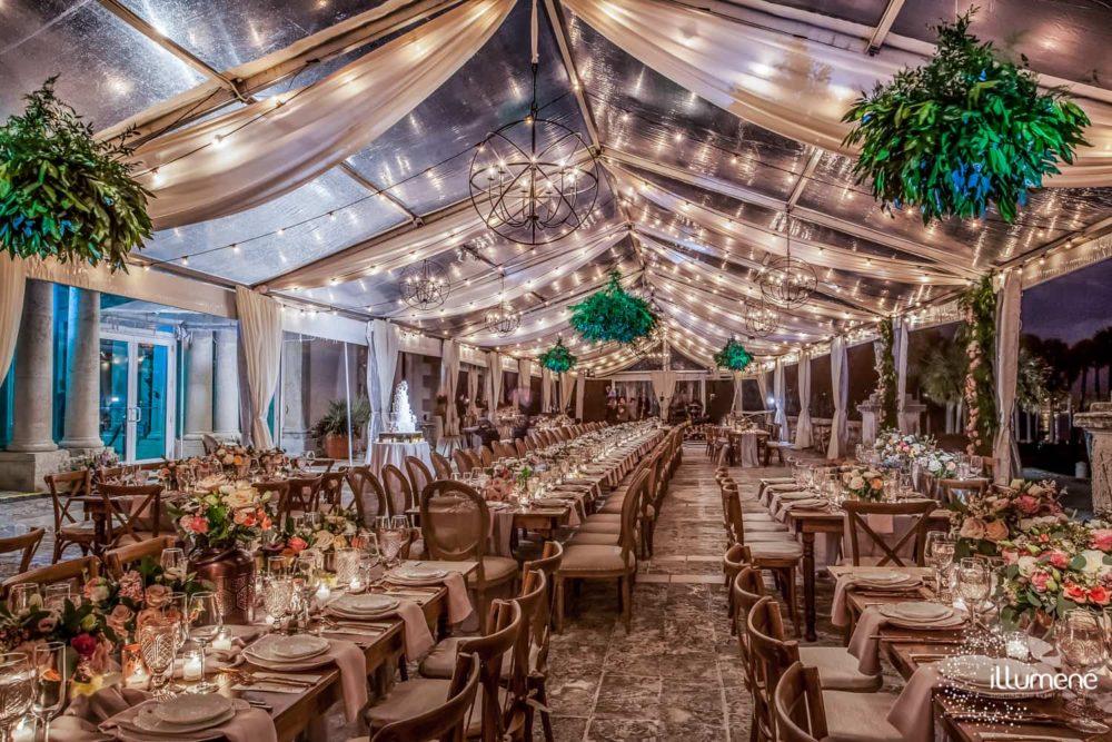 Vizcaya Museum and Gardens wedding orb chandeliers