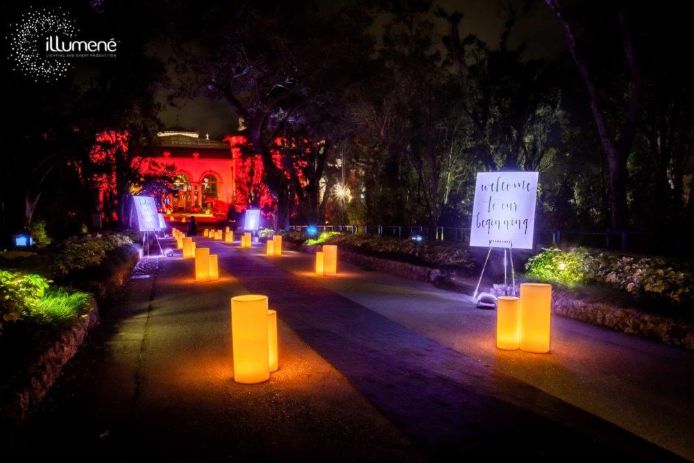 Vizcaya Museum luminaries wax candles lighting wedding