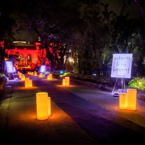 Vizcaya Museum luminaries wax candles lighting wedding