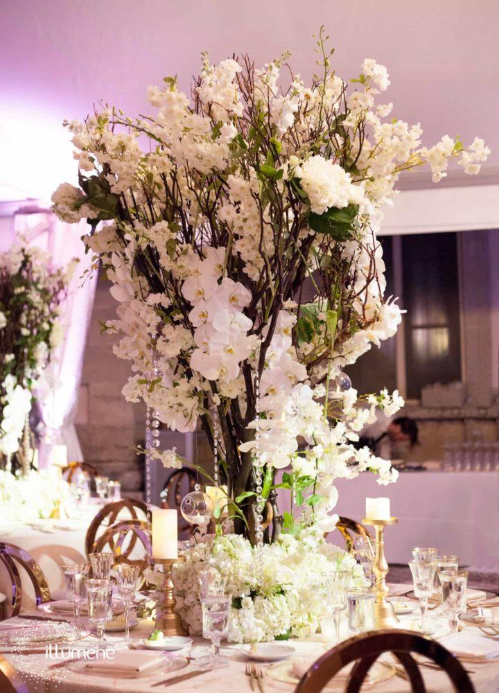 Vizcaya Museum wedding flowers tall white centerieces