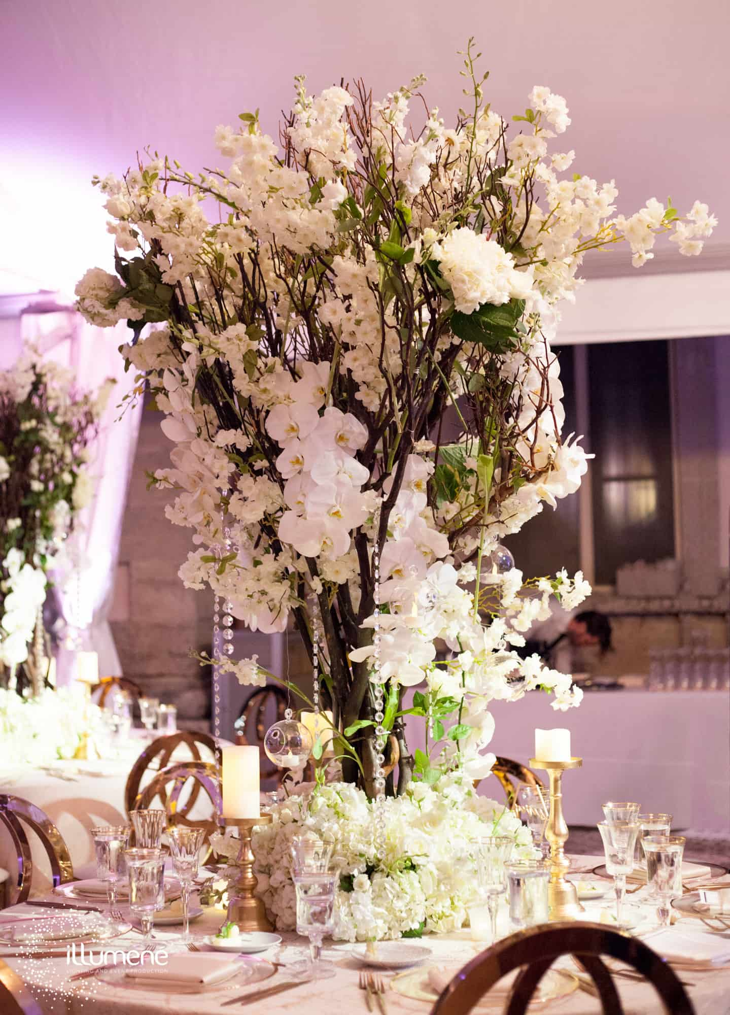Vizcaya Museum wedding flowers tall white centerieces