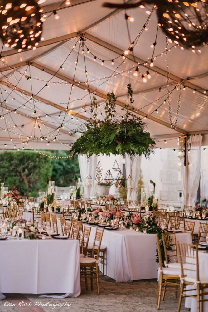 Vizcaya Museum wedding string lights bistro lights cafe lights Miami