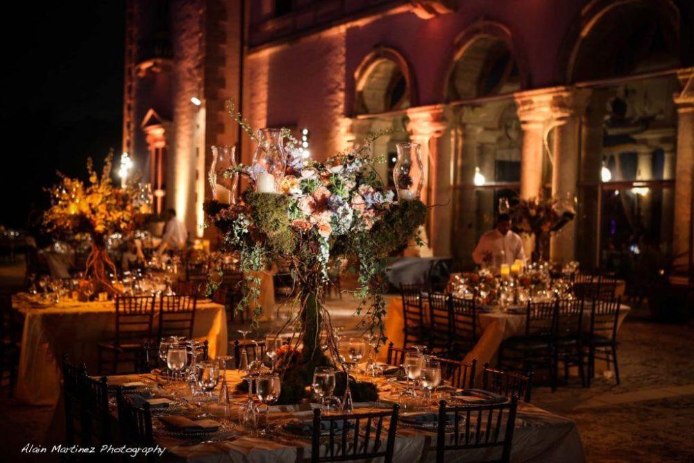 Wedding Vizcaya Museum and Gardens lighting