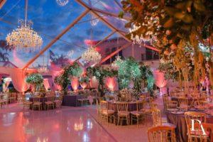 Fisher Island wedding lighting chandeliers tent