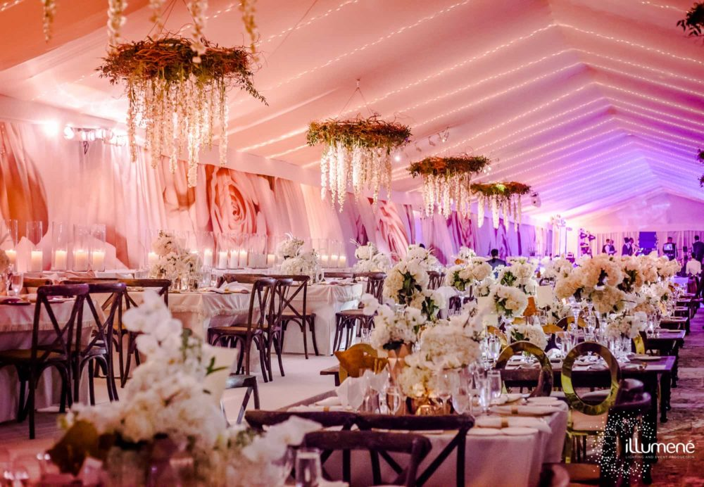 Blush pink uplighting for a tent at Vizcaya Museum and Gardens