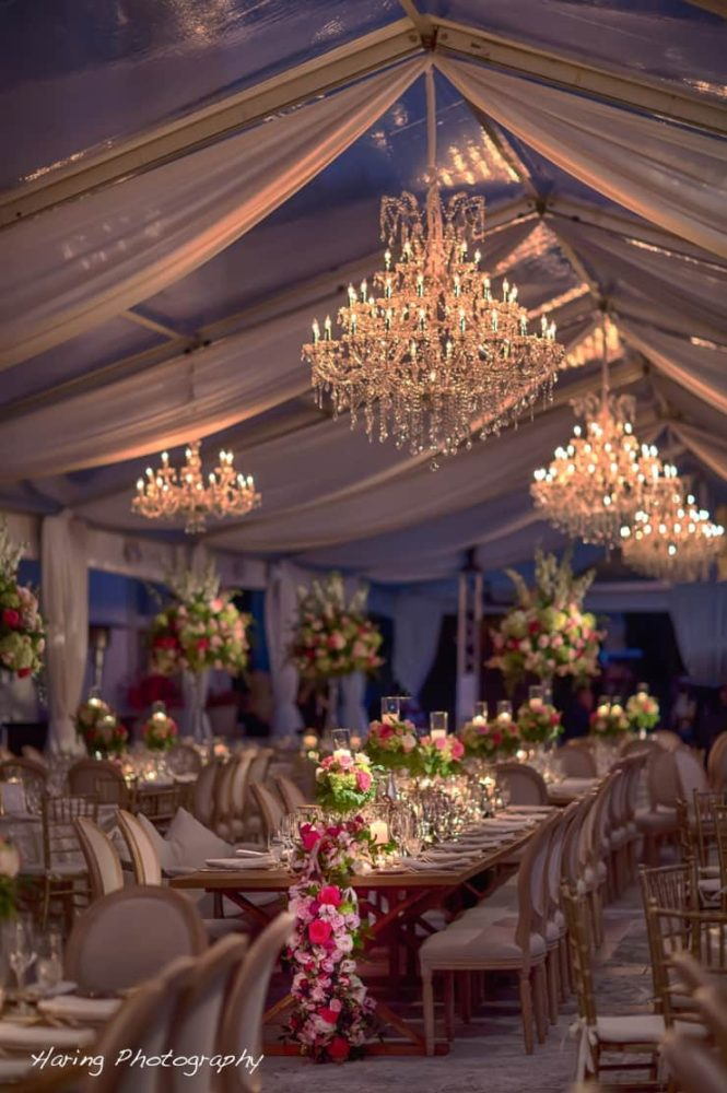 Crystal chandeliers under the tent for rent in Miami