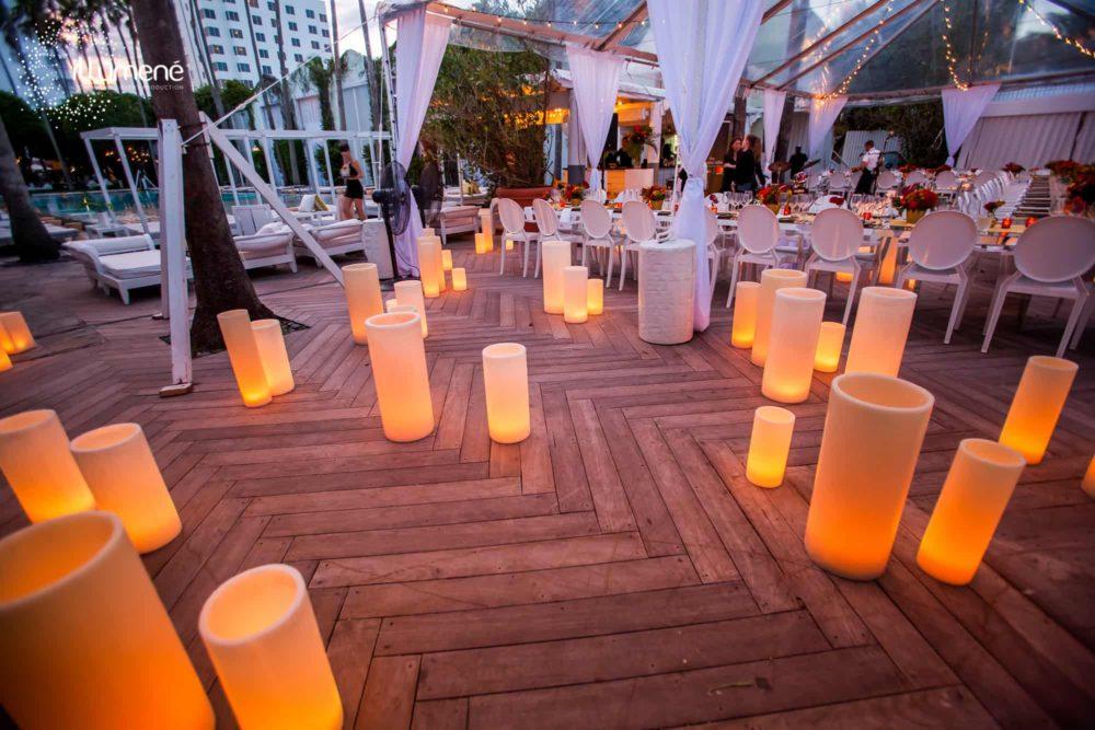 Delano Hotel Miami large candles corporate event