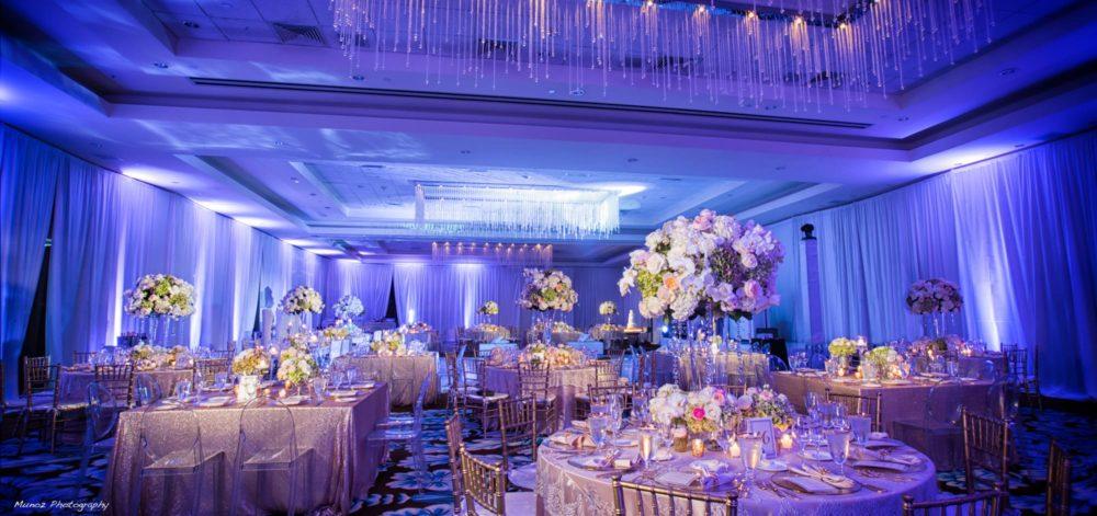 Fabric Fontainebleau Miami Beach wedding draping and uplighting