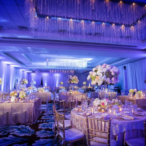 Fontainebleau wedding blue uplighting and draping