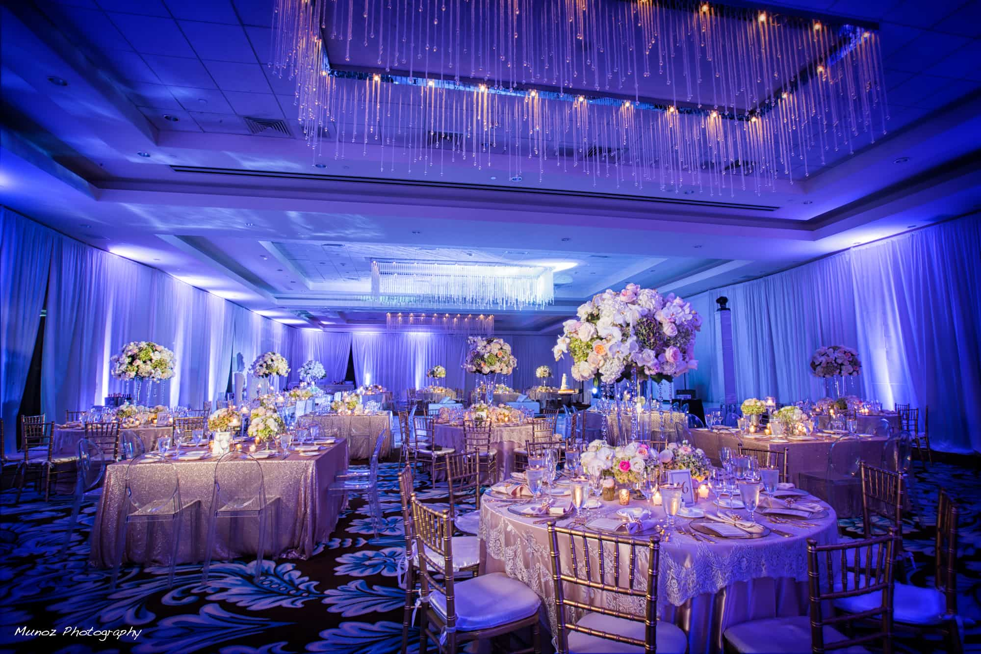 Fontainebleau Wedding Blue Uplighting And Draping Illumene Lighting And Event Production Audio Visual Miami