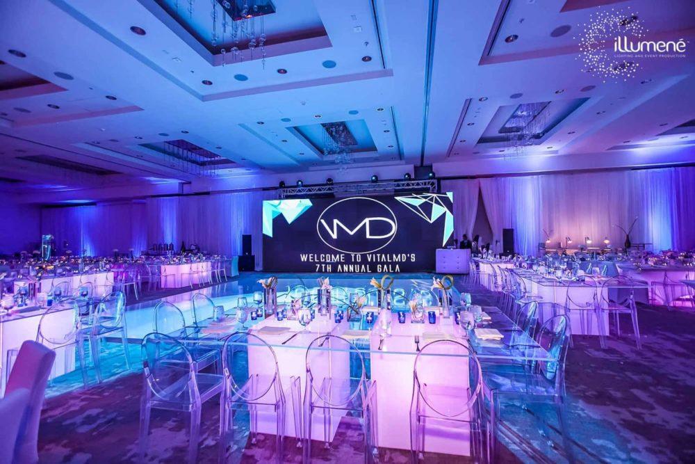 Gala event lighting uplighting blue Miami