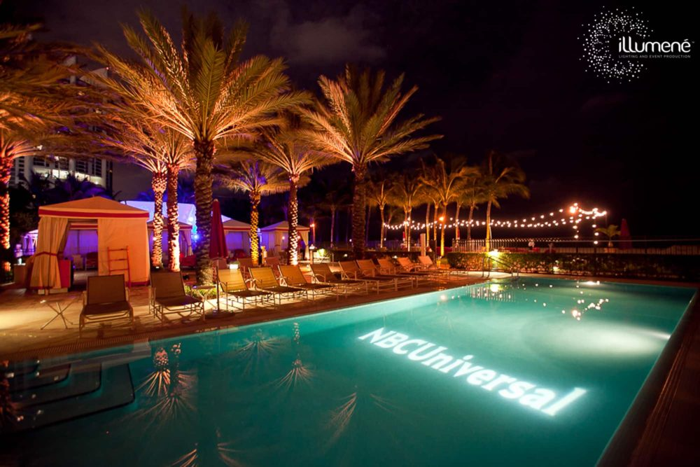 Logo projection in the pool Miami string lights