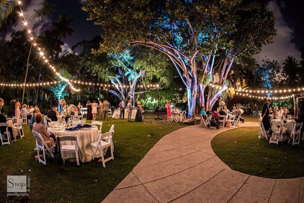 Miami Beach Botanical Gardens string lights rent Miami