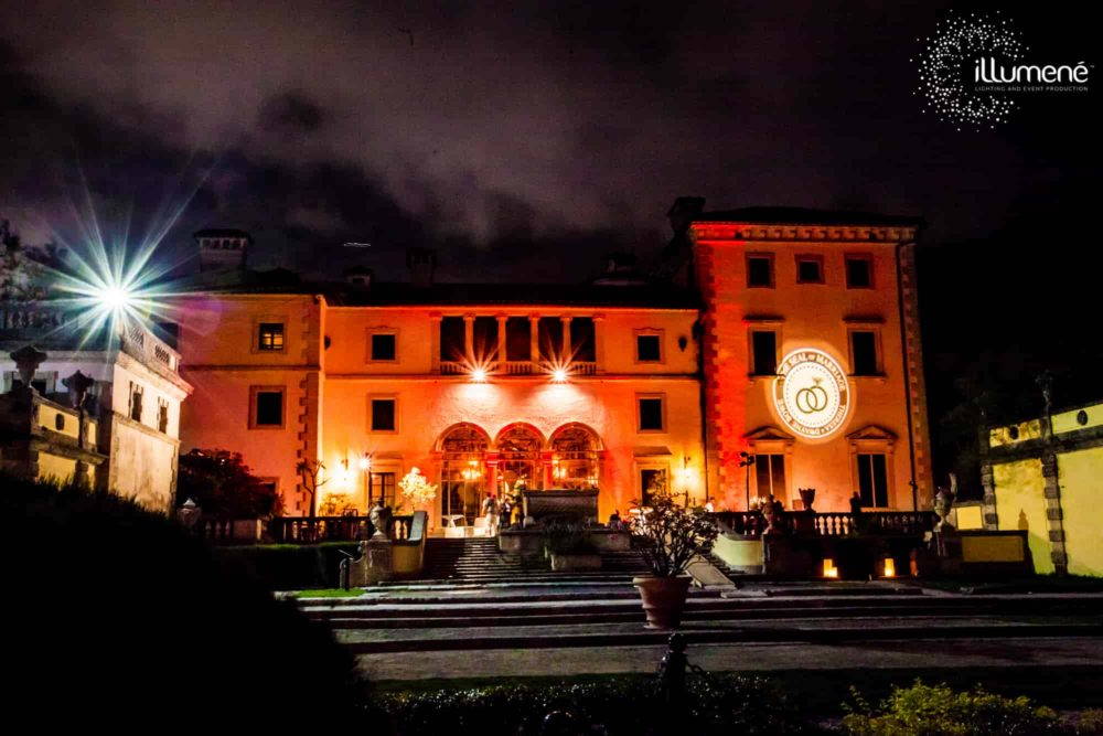 Monogram projection for a wedding at Vizcaya Museum and Gardens