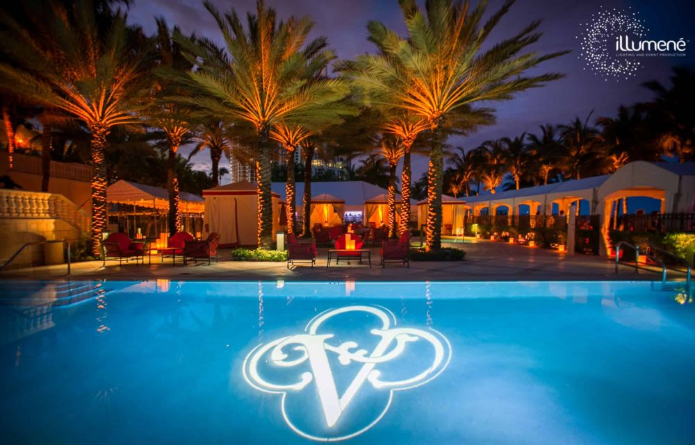 Monogram projection in the pool Miami