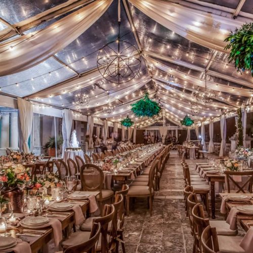 Orb chandeliers and string bistro twinkle market lights