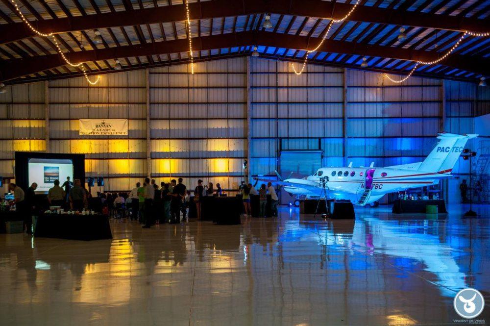 Plane hangar uplighting event production lighting Miami