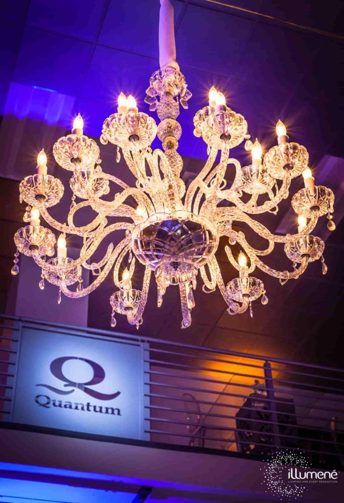 Rent crystal chandelier for corporate event