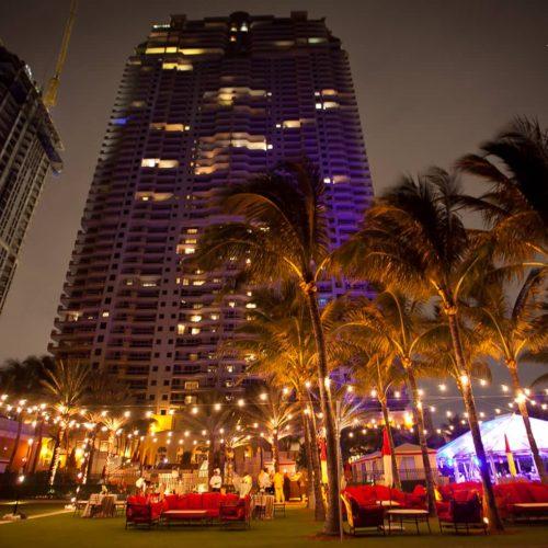 String lights corporate event Miami