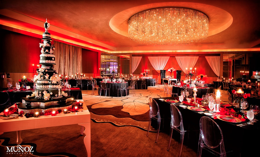 The Ritz Carlton Fort Lauderdale wedding lighting red uplighting