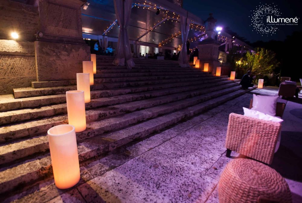Vizcaya Museum and Gardens wedding lighting candles