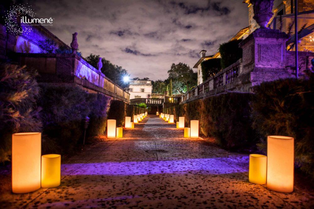 large candles luminaries Vizcaya wedding Miami