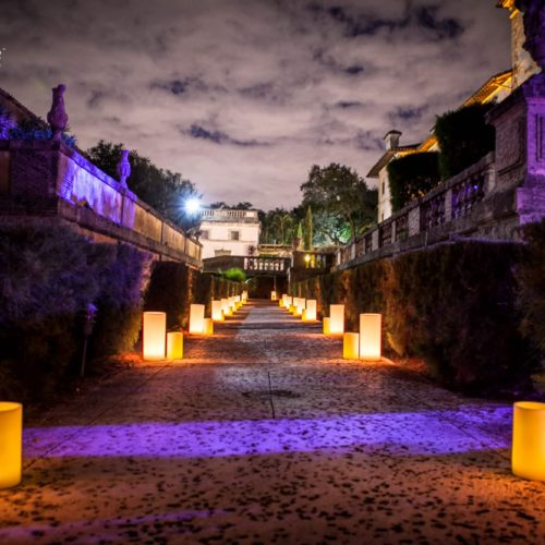 large candles luminaries Vizcaya wedding Miami