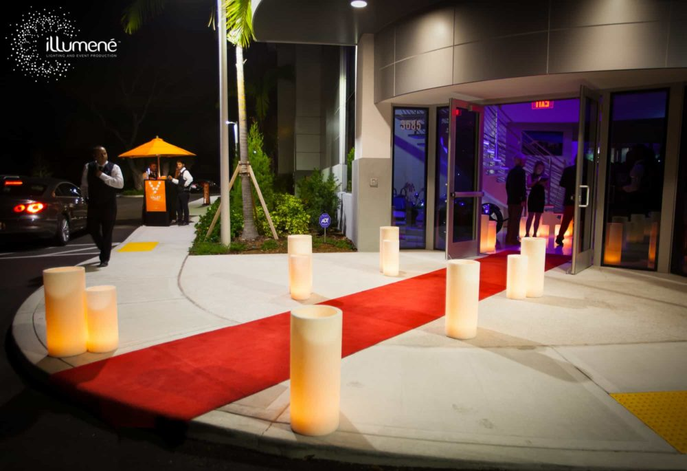 large candles red carpet event Miami Fort lauderdale palm Beach