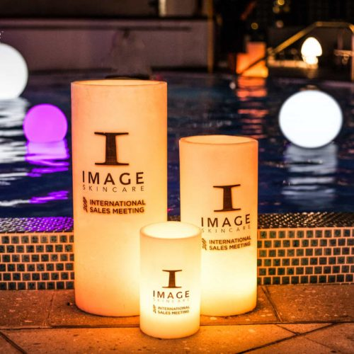 rent large candles corporate branded