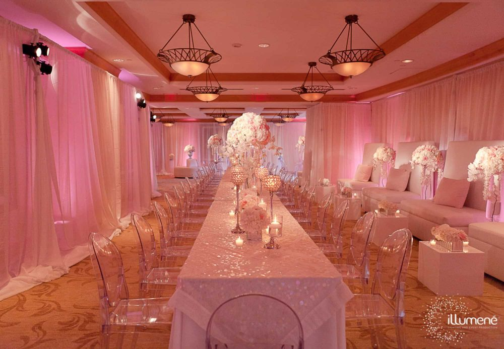 Acqualina fabric draping Miami wedding