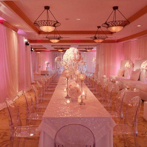 Acqualina fabric draping Miami wedding