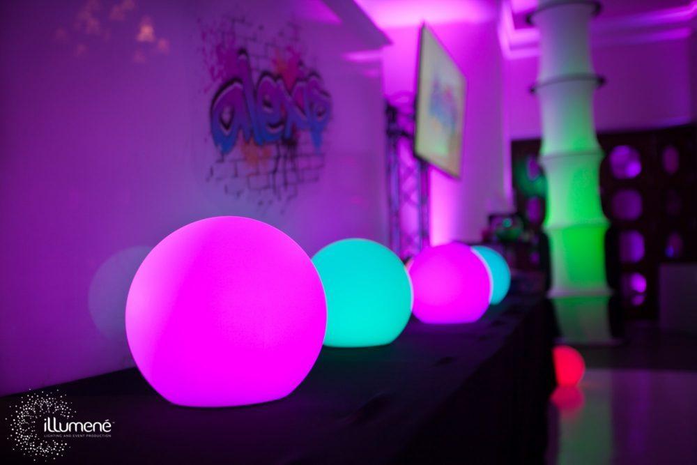 Bat mitzvah LED glow spheres color changing LED glow balls