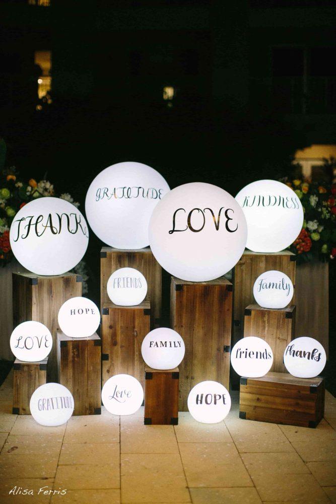 LED glow spheres, floating LED balls for My Great Big Lifetime Wedding with David Tutera